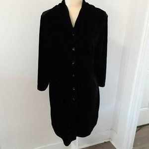 J Jill black velvet lace tunic/dress 2X rayon silk